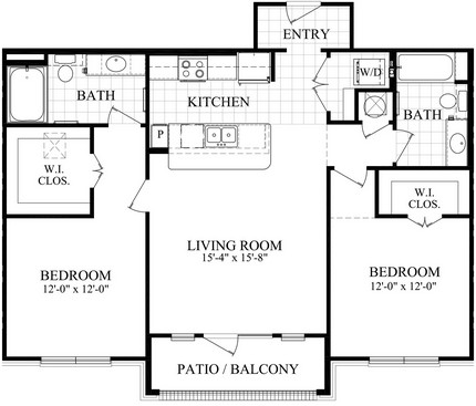 1,102 sq. ft. C3 floor plan