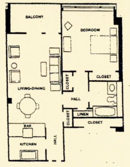 691 sq. ft. floor plan