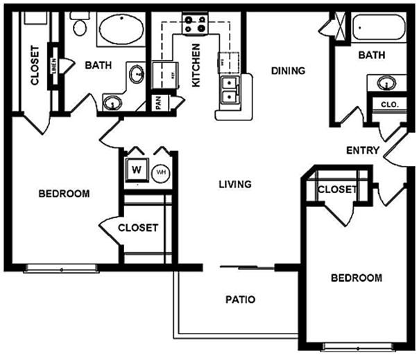 1,175 sq. ft. E floor plan