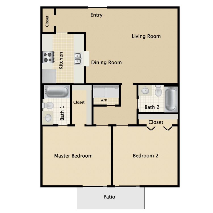 966 sq. ft. C2 floor plan