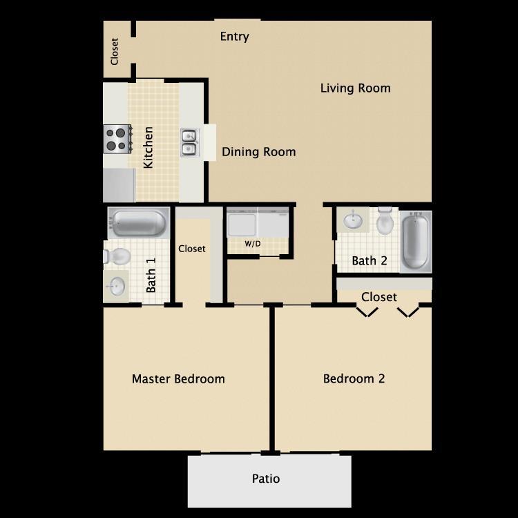 966 sq. ft. C2 floor plan
