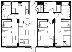 1,224 sq. ft. C1 floor plan