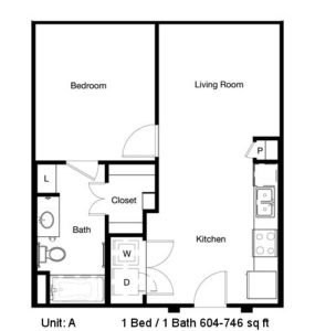 604 sq. ft. to 746 sq. ft. A floor plan