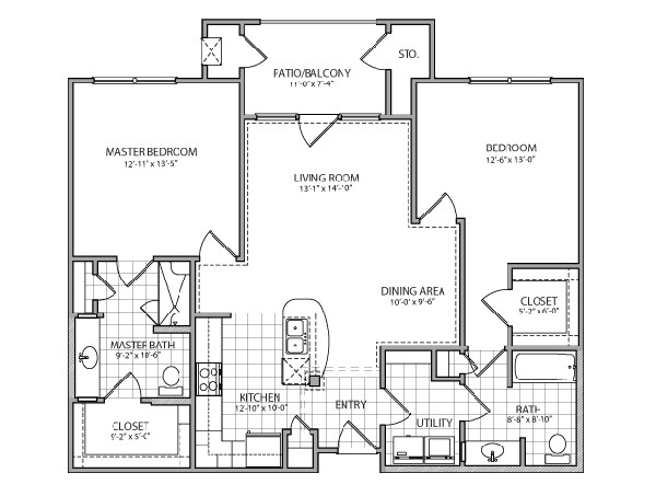 1,180 sq. ft. Capri Indep. floor plan