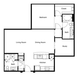 1,056 sq. ft. floor plan