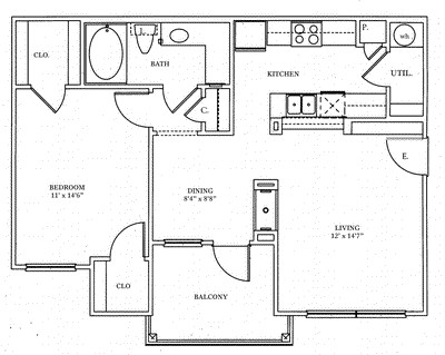 742 sq. ft. A1 floor plan