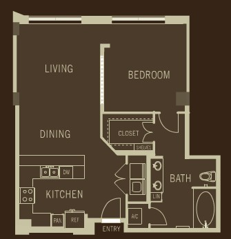 914 sq. ft. A1 floor plan