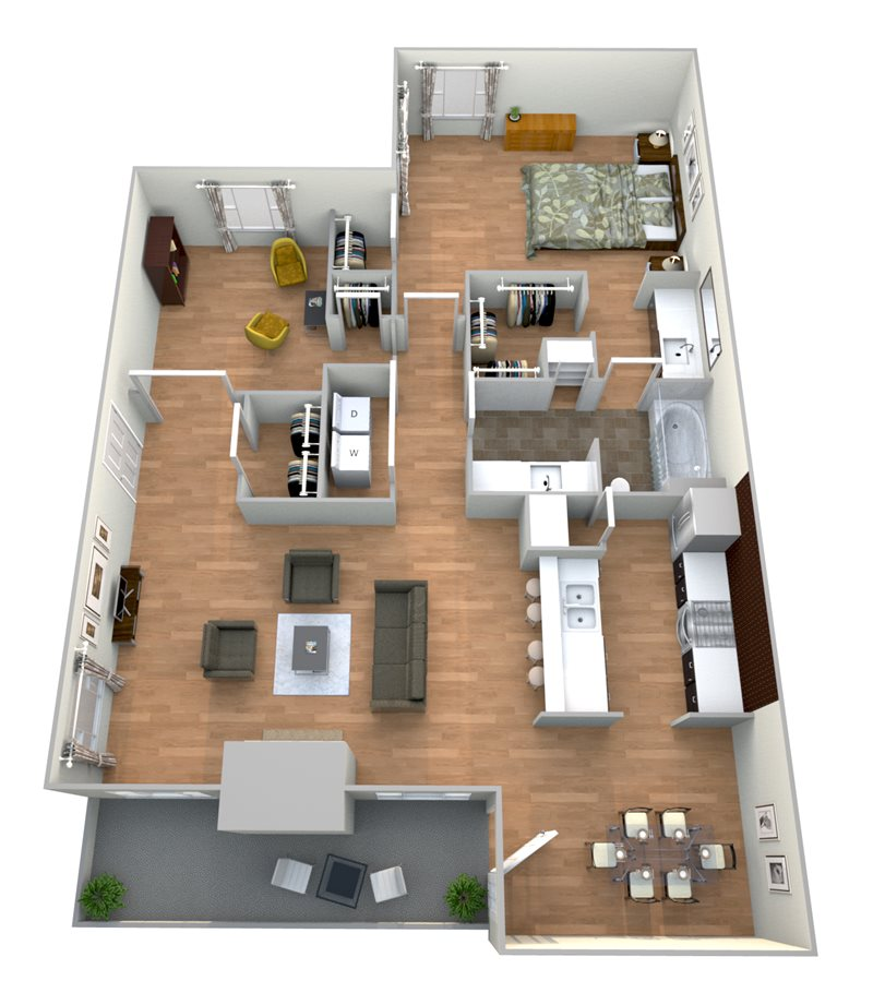1,064 sq. ft. 1x1 D floor plan