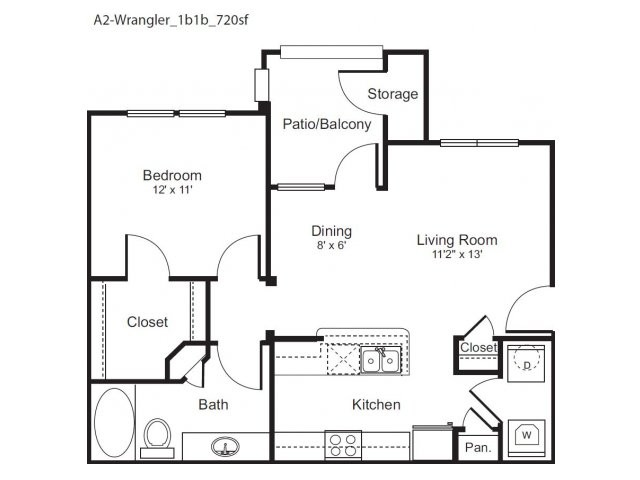 720 sq. ft. Wrangler floor plan