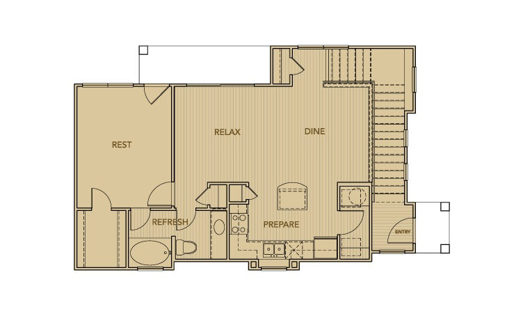 913 sq. ft. C1 floor plan