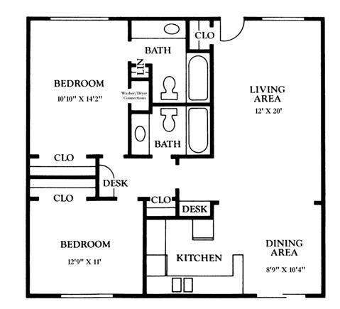 1,032 sq. ft. B2 floor plan