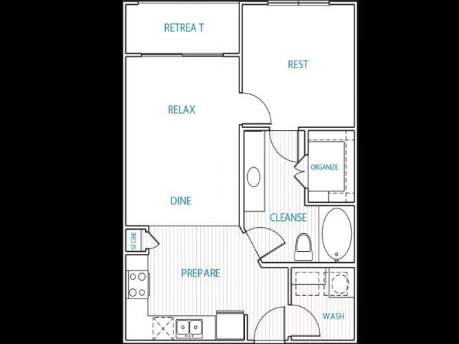 652 sq. ft. A1 floor plan