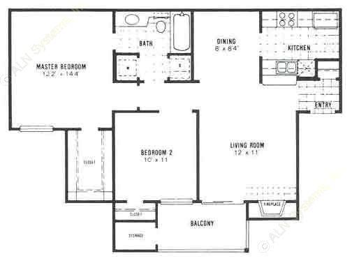 872 sq. ft. B1 floor plan