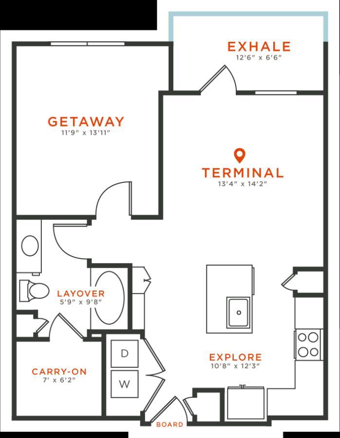 761 sq. ft. A3 floor plan