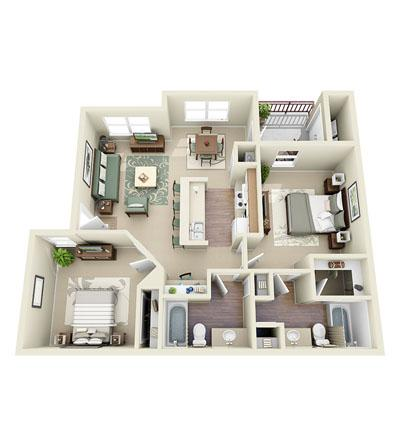 954 sq. ft. Wright floor plan