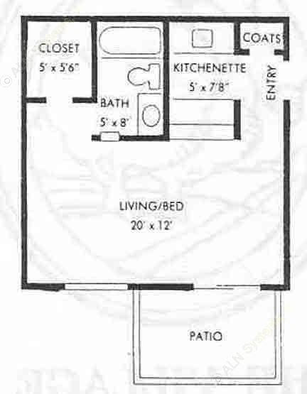 425 sq. ft. EFF floor plan