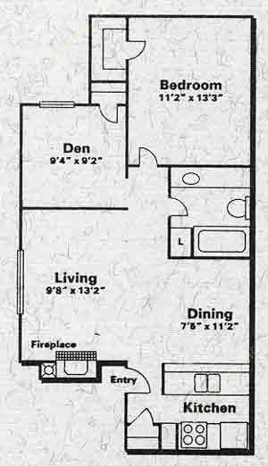 650 sq. ft. A1BFP floor plan