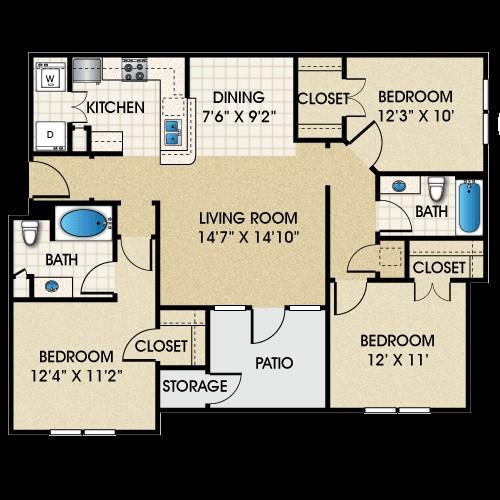 1,208 sq. ft. C1 floor plan