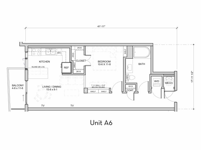 699 sq. ft. A6 floor plan