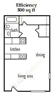 500 sq. ft. EFF floor plan