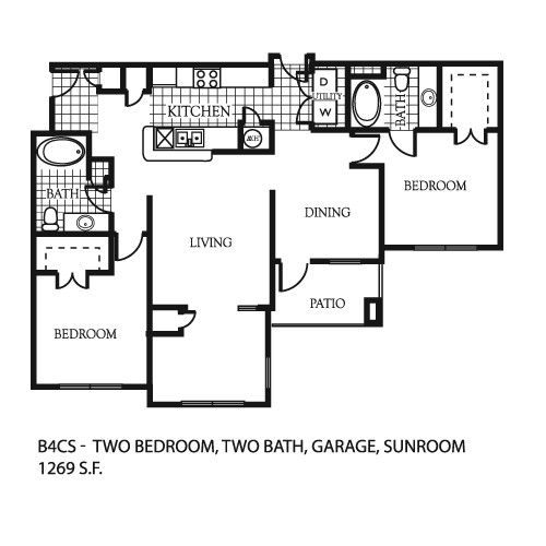 1,269 sq. ft. B5 floor plan