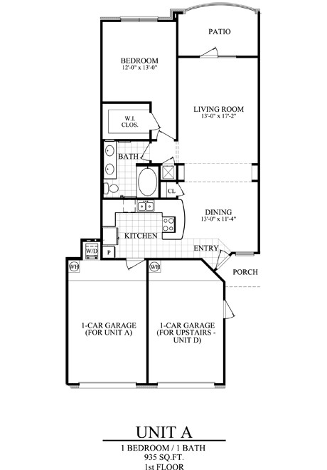 935 sq. ft. A1 floor plan