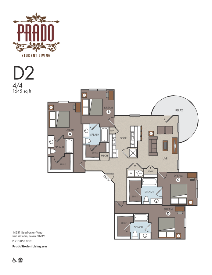 1,645 sq. ft. D2 floor plan