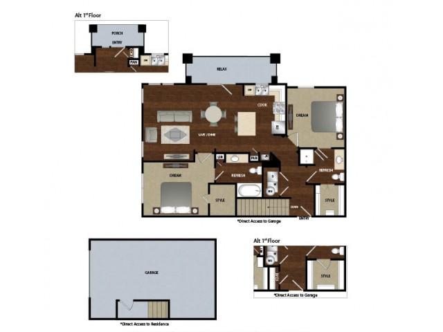 1,153 sq. ft. B2G floor plan