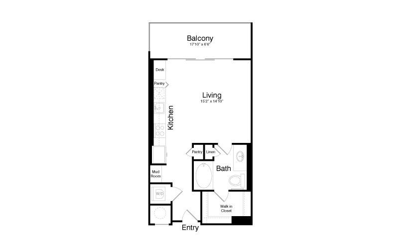 557 sq. ft. E2 floor plan