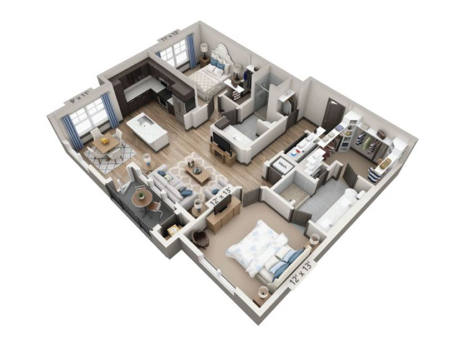 1,140 sq. ft. to 1,215 sq. ft. Blanco floor plan