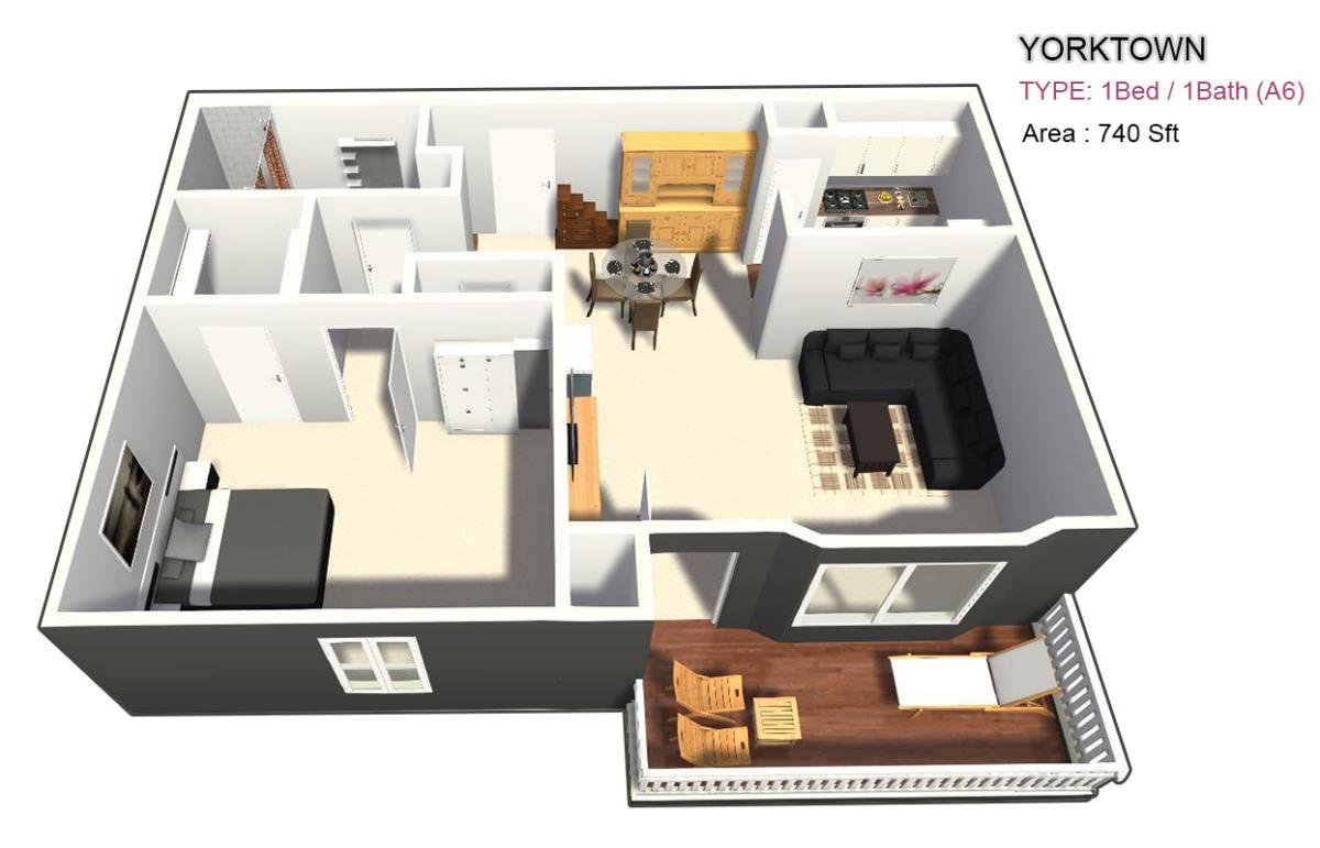 770 sq. ft. 1X1 floor plan