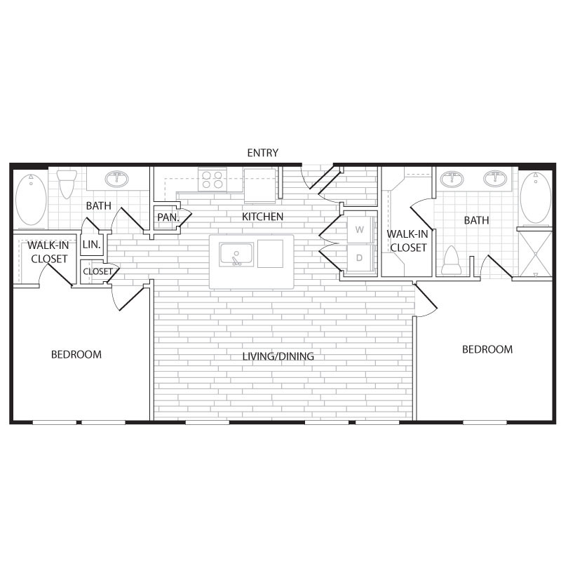 1,106 sq. ft. B8 floor plan