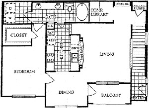 1,057 sq. ft. E floor plan