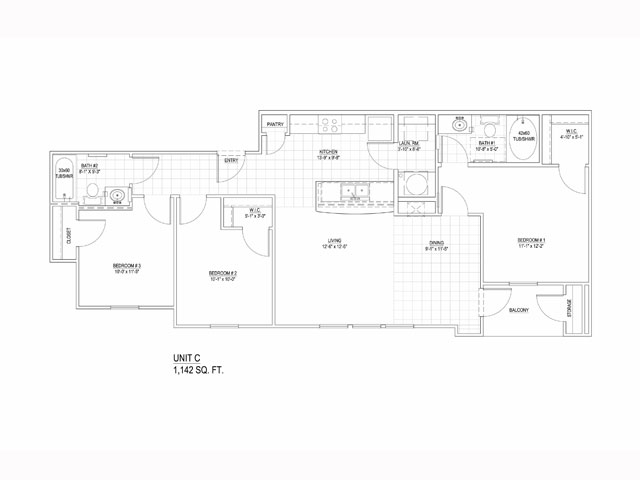 1,142 sq. ft. Mkt floor plan
