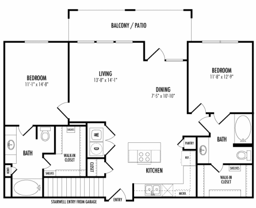 1,196 sq. ft. Torrington Alt floor plan