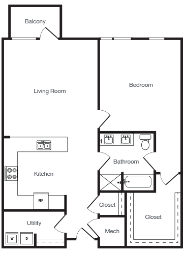 1,048 sq. ft. 1B floor plan