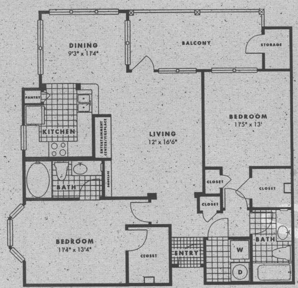 1,140 sq. ft. B3 floor plan