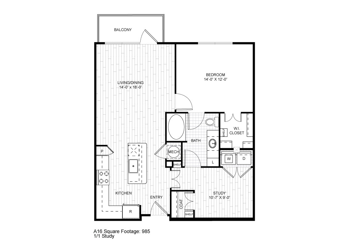 985 sq. ft. A16 floor plan