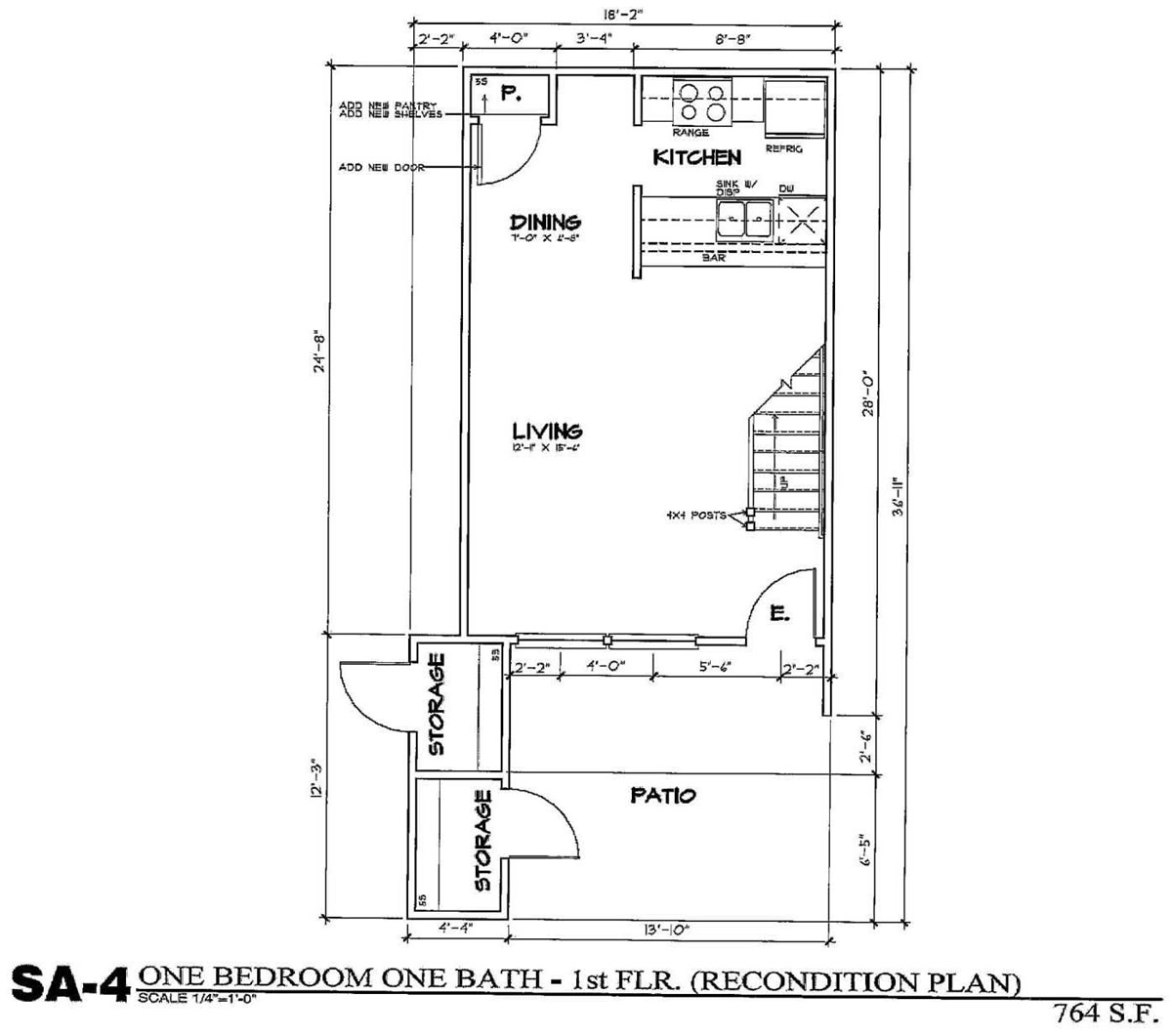 764 sq. ft. SA4/50 floor plan