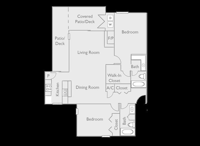 1,150 sq. ft. B3 floor plan