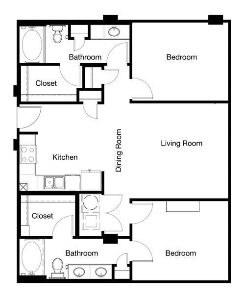 1,053 sq. ft. B1-II floor plan