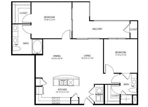 1,189 sq. ft. B3 PH3 floor plan