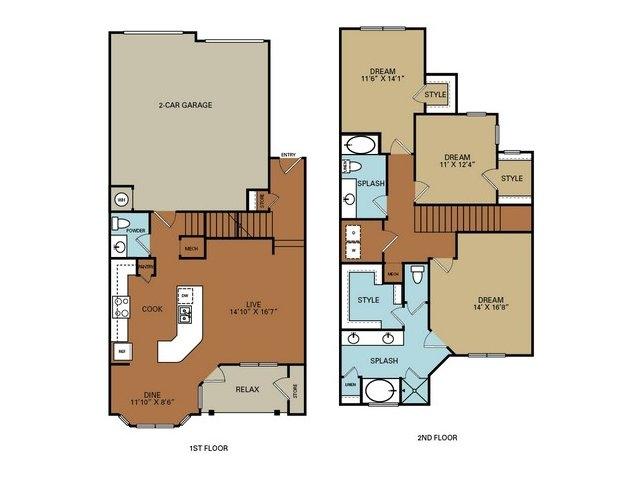 1,816 sq. ft. to 1,830 sq. ft. C1 floor plan