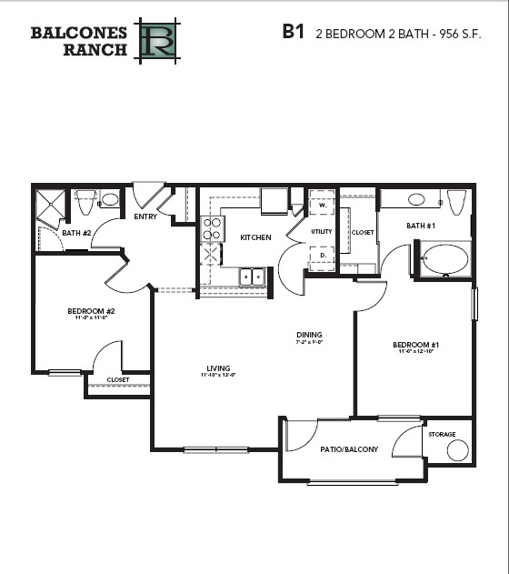1,040 sq. ft. Pearl floor plan