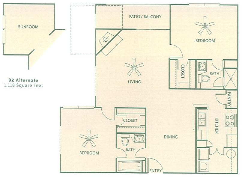 1,118 sq. ft. 2G floor plan