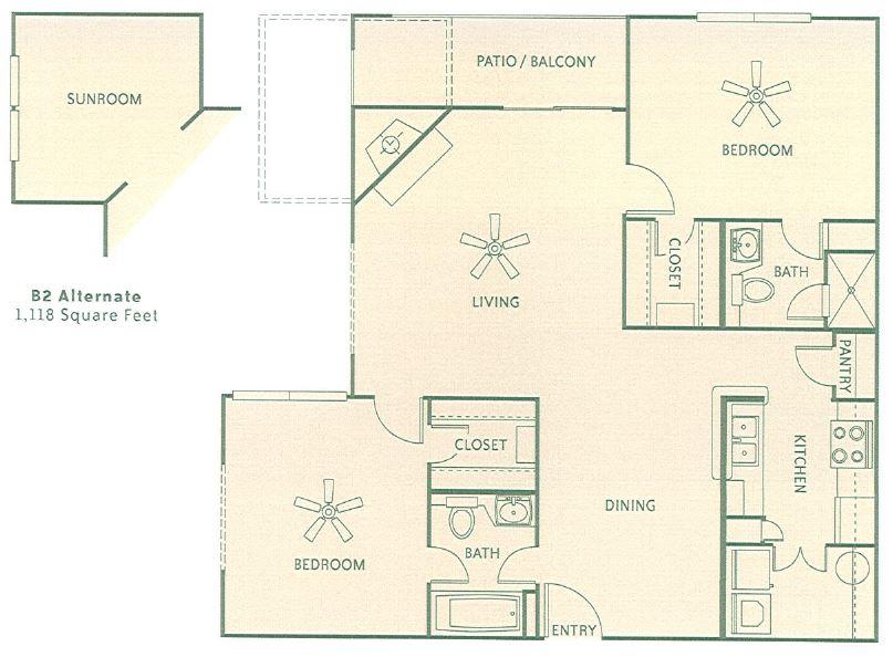 1,118 sq. ft. 2G floor plan