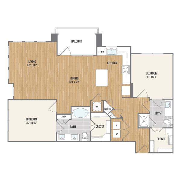 1,213 sq. ft. B4 floor plan