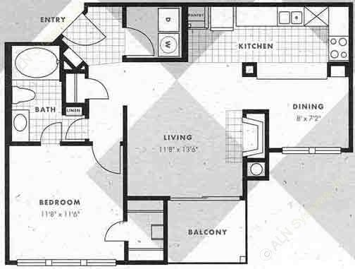 718 sq. ft. A2-A2G floor plan