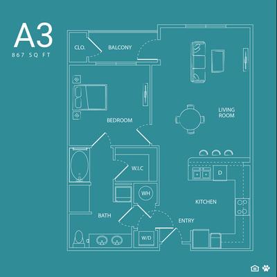 867 sq. ft. A3 floor plan