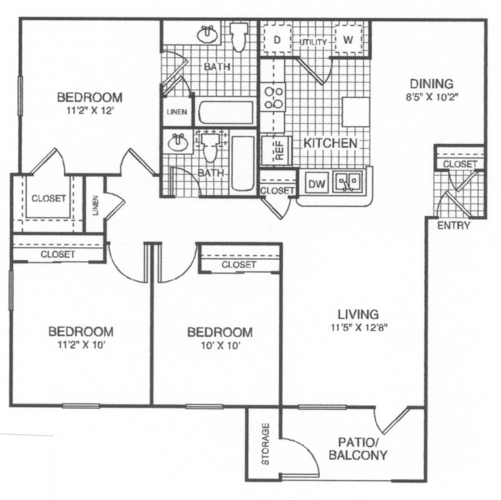 1,100 sq. ft. 60% floor plan